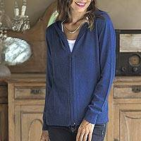 Cotton blend hoodie, 'Simple Delight in Royal Blue' - Cotton Blend Hoodie in Royal Blue from Peru