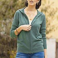 Cotton blend hooded cardigan, 'Simple Delight in Viridian' - Cotton Blend Hooded Cardigan in Viridian from Peru