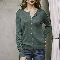 Cotton blend cardigan, 'Simple Style in Viridian' - Cotton Blend Green Cardigan Sweater from Peru