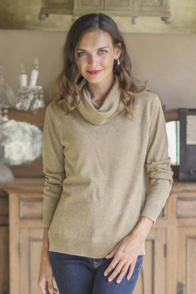 Cotton blend pullover, 'Taupe Versatility' - Cotton Blend Pullover in Taupe from Peru