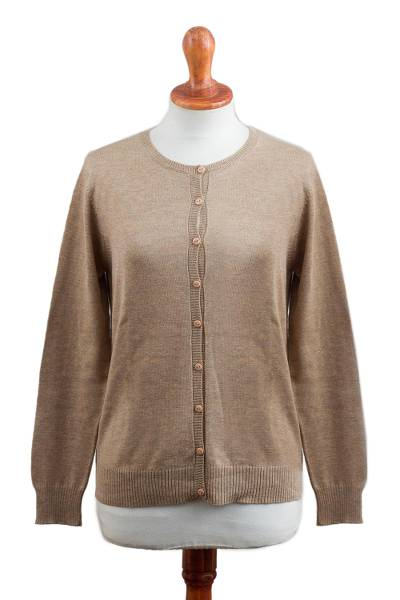 Cotton blend cardigan, 'Simple Style in Taupe' - Cotton Blend Cardigan in Taupe from Peru