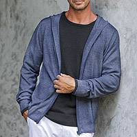Men's cotton blend hoodie, 'Indigo Adventure' - Indigo Blue Cotton Blend Men's Hoodie Sweater