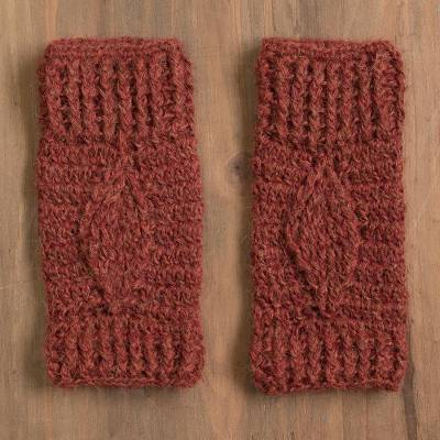 100% alpaca fingerless mitts, 'Cranberry Dream' - Hand-Crocheted 100% Alpaca Fingerless Mitts in Cranberry