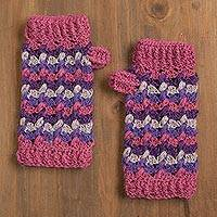 100% alpaca fingerless mitts, 'Striped Dream' - Striped 100% Alpaca Fingerless Mitts from Peru