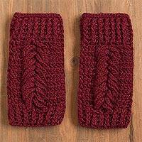 100% alpaca fingerless mitts, 'Patterned Style' - Patterned 100% Alpaca Fingerless Mitts in Wine from Peru