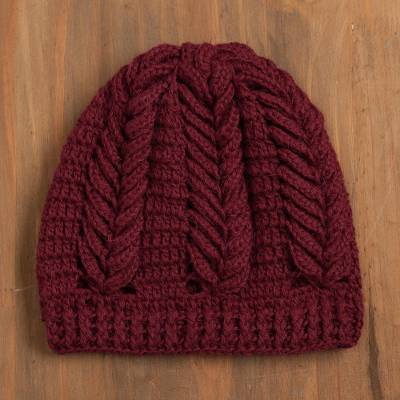 100% alpaca hat, 'Patterned Style' - Patterned 100% Alpaca Hat in Wine from Peru