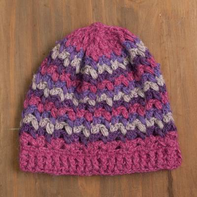 100% alpaca hat, 'Striped Dream' - Striped 100% Alpaca Crocheted Hat from Peru