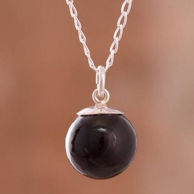 Obsidian pendant necklace, 'Hypnotic Orb' - Obsidian Orb Pendant Necklace Crafted in Peru
