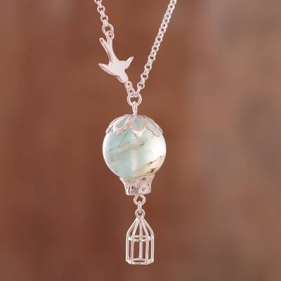 Opal pendant necklace, The Uncaged Bird