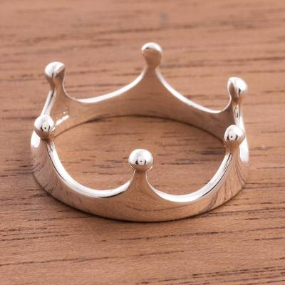 Sterling silver band ring, 'Queenly Crown' - Peruvian Sterling Silver Band Ring Shaped Like a Crown