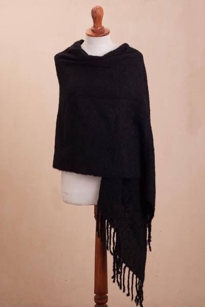 Alpaca blend shawl, 'Soft Surround in Black' - Boucle Alpaca Blend Shawl in Black from Peru