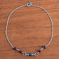 Lapis lazuli and reconstituted turquoise anklet, 'Universal Orbs' - Lapis Lazuli and Recon. Turquoise Anklet from Peru