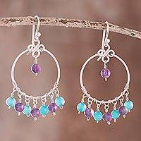 Amethyst and agate beaded chandelier earrings, 'Festive Gleam' - Amethyst and Agate Beaded Chandelier Earrings from Peru