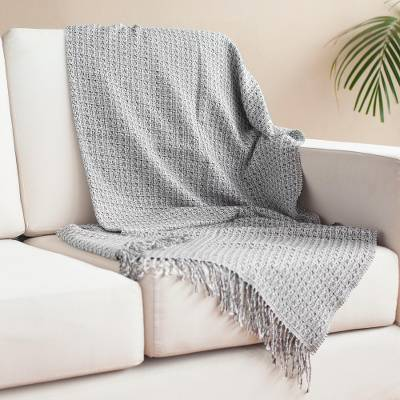Alpaca blend throw, 'Wintry Combination' - Monochromatic Alpaca Blend Throw from Peru