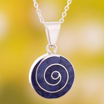 Sodalite pendant necklace, 'Swirl Chic' (large) - Swirl Motif Sodalite Pendant Necklace from Peru (Large)