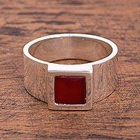 Agate signet ring, 'Square Fire' - Square Red-Orange Agate Cocktail Ring from Peru
