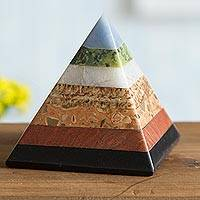 Multi-gemstone figurine, 'Positive Energy' - Multi-Gemstone Pyramid Figurine from Peru