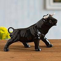 Onyx gemstone sculpture, 'Legendary Bull' - Black Onyx Bull Sculpture Crafted in Peru