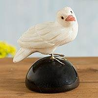 Onyx gemstone sculpture, 'Bird of Peace' - White and Black Onyx Gemstone Bird Sculpture from Peru