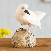 Onyx and calcite gemstone sculpture, 'White Bird' - White Onyx and Calcite Gemstone Bird Sculpture from Peru
