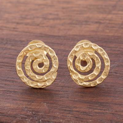 Gold plated sterling silver button earrings, 'Andean Cosmos' - Handmade Gold Plated Sterling Silver Button Earrings