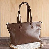 Leather shoulder bag, 'Burnt Sienna Glam' - Burnt Sienna Leather Shoulder Bag Crafted in Peru