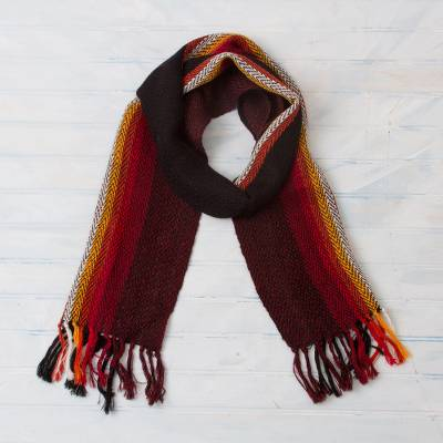 100% alpaca scarf, 'Mountain Dusk' - Striped 100% Alpaca Wrap Scarf from Peru