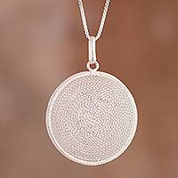 Sterling silver filigree pendant necklace, 'Artisanal Moon' - Circular Sterling Silver Filigree Pendant Necklace