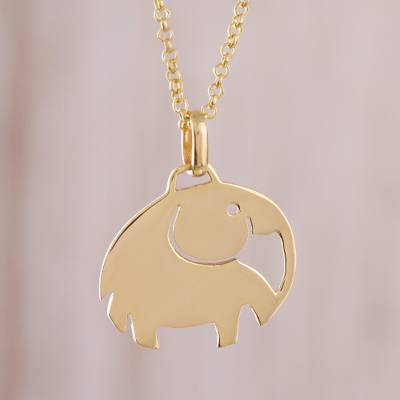 Gold plated sterling silver pendant necklace, 'Cute Wisdom' - Gold Plated Sterling Silver Elephant Pendant Necklace
