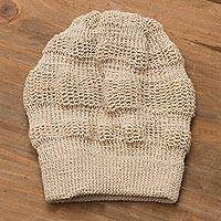 100% baby alpaca hat, 'Mountain Experience in Ivory' - Crocheted 100% Baby Alpaca Hat in Ivory from Peru