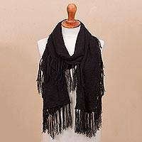 100% baby alpaca scarf, 'Fringed Style in Black' - Crocheted 100% Baby Alpca Scarf in Black from Peru