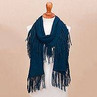 100% baby alpaca scarf, 'Fringed Style in Azure' - Fringed 100% Baby Alpaca Scarf in Azure from Peru