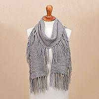 100% baby alpaca scarf, 'Fringed Style in Smoke' - Fringed 100% Baby Alpaca Scarf in Smoke from Peru