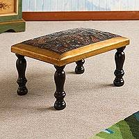 Leather and wood ottoman, 'World of Birds' - Bird-Themed Leather and Wood Ottoman from Peru