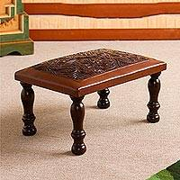 Leather and wood ottoman, 'World of Nature' - Nature-Inspired Leather and Wood Ottoman from Peru