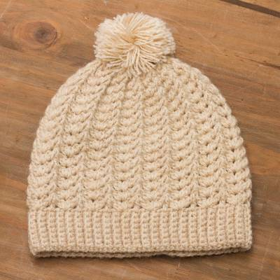Alpaca blend hat, 'Sweet Alabaster' - Hand-Crocheted Alpaca Blend Hat with a Pompom from Peru