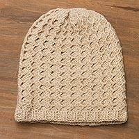 Alpaca blend hat, 'Vanilla Waves' - Hand-Crocheted Wave Pattern Alpaca Blend Hat in Vanilla