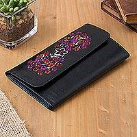 Leather wallet, 'Floral Shopper' - Painted Floral Leather Wallet from Peru