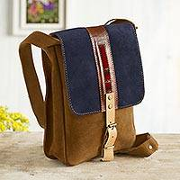Leather accented suede messenger bag, 'Stylish Adventure in Indigo' - Sepia and Indigo Leather Accented Suede Messenger Bag
