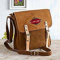 Suede messenger bag, 'Sepia Business' - Wool Accented Suede Messenger Bag in Sepia from Peru