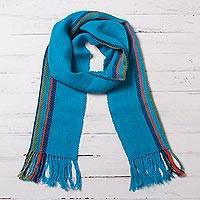 100% alpaca scarf, 'Sky Stream' - Turquoise Blue and Colorful Stripe 100% Alpaca Scarf