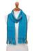 100% alpaca scarf, 'Sky Stream' - Turquoise Blue and Colorful Stripe 100% Alpaca Scarf (image 2a) thumbail