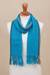 100% alpaca scarf, 'Sky Stream' - Turquoise Blue and Colorful Stripe 100% Alpaca Scarf (image 2b) thumbail