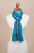 100% alpaca scarf, 'Sky Stream' - Turquoise Blue and Colorful Stripe 100% Alpaca Scarf (image 2c) thumbail