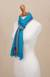 100% alpaca scarf, 'Sky Stream' - Turquoise Blue and Colorful Stripe 100% Alpaca Scarf (image 2d) thumbail