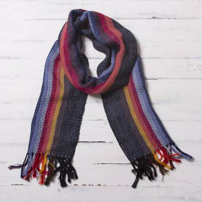 100% alpaca scarf, 'Rugged Rainbow' - Soft Black with Colorful Stripes Handwoven 100% Alpaca Scarf