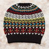 100% alpaca knit hat, 'Motif Medley' - Multi-Color 100% Alpaca Knit Hat with Geometric Motifs