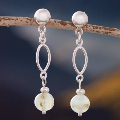 Opal dangle earrings, 'Fantastic Loops' - Natural Opal Dangle Earrings Crafted in Peru