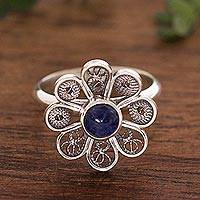 Sodalite cocktail ring, 'Blue Daisy' - Sodalite and Sterling Silver Filigree Flower Cocktail Ring