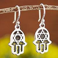 Sterling silver filigree dangle earrings, 'Serene Safety' - Sterling Silver Open Hand and Star of David Dangle Earrings